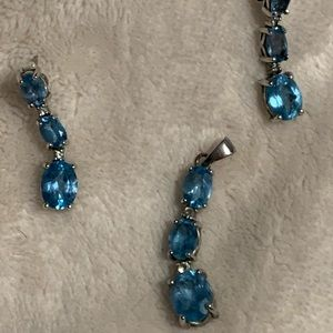 Blue Topaz Earring and Pendant set from JCPenny